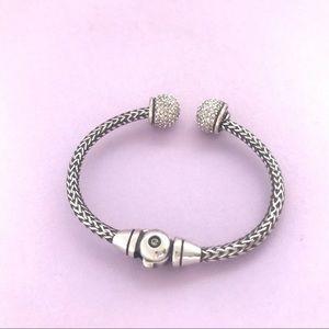 Brighton Jewelry - Brighton Vintage Twist Crystal Silver Hinge Bangle